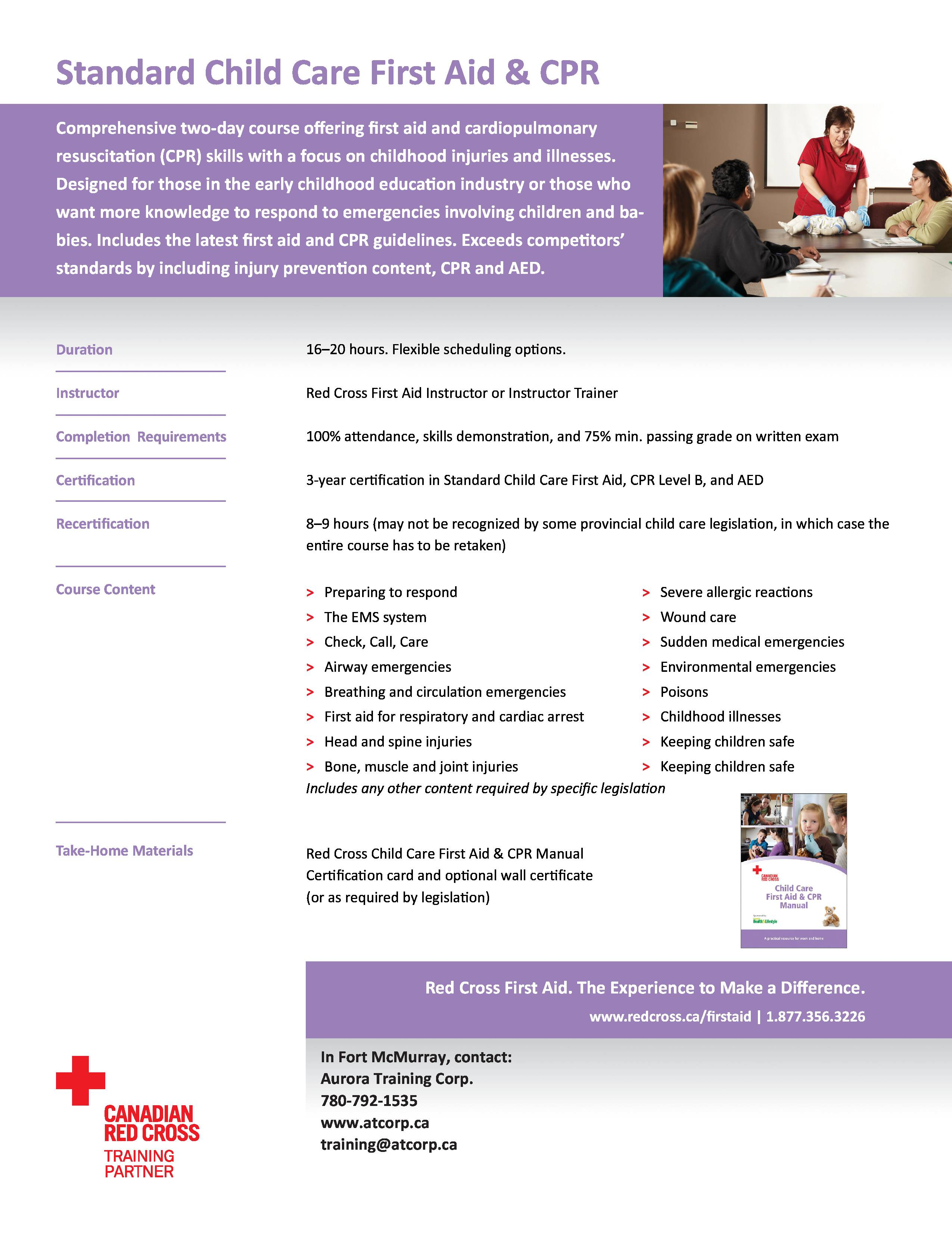 Full classes aurora training corp standard childcare first aid with level b cpr 12500 xflitez Image collections